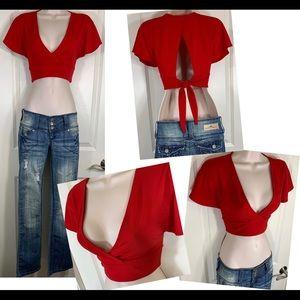 Red Open Back Crop Top Tie Back